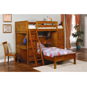 Twin Workstation Loft Bunk Bed 460133 (CO)