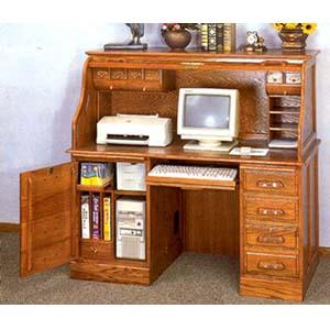 Computer Desk With Door: Deluxe Oak Roll Top Computer Desk 5307 CO