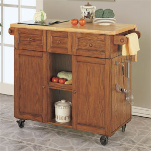 Medium Oak 3-Drawer Kitchen Butler 534-477(PWFS)