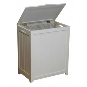 White Laundry Wood Hamper RHP0109W (OD)(Free Shipping)