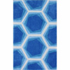 Handmade Abstract Honeycomb Blue Rug 14806079(OFS188)
