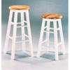 White Solid Wood Stool With Natural Wood Seat 1602(ABC)