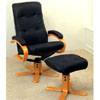 Black Top Grain Leather Leisure Chair With Ottoman 4412 (CO)