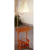 Oak Finish Swing Arm Brass Lamp Magazine Table 4501 (CO)
