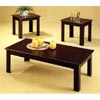 3-Pc Black Oak Veneer Parquet Coffee/End Table Set 5169 (CO)