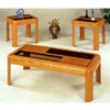 3-Pc Oak Veneer Parquet Coffee And End Table Set 5171 (CO)