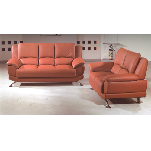 Brown Leather Sofa Set S990-BR (PK)