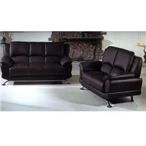 Black Leather Sofa Set S990-B (PK)