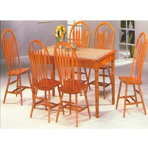 Dinette Sets 5 Pc Oak Finish Tile Top Dining Set 1215 39