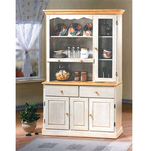 Antique White/Light Oak Buffet U0026 Hutch 1217 47 (WD)