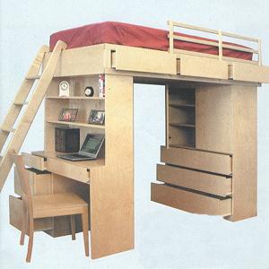 Solid Wood Loft Bed System 263TLB-B