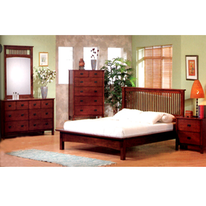 bedroom furniture 5 pc mission style bedroom set in dark finish 39