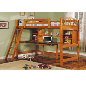 Twin Size Workstation Loft Bed 2478 (A)