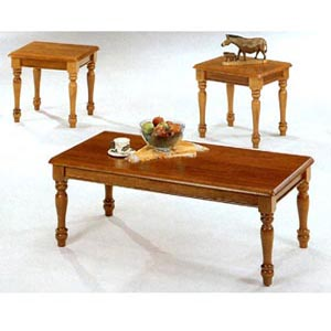 3-Pc Oak Finish Coffee And End Table Set 4324 (CO)