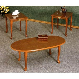 3-Pc Oak Veneer Coffee And End Table Set 5116 (CO)