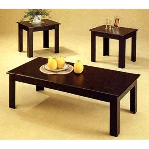 3-Pc Black Oak Veneer Parquet Coffee/End Table Set 5169 (CO)