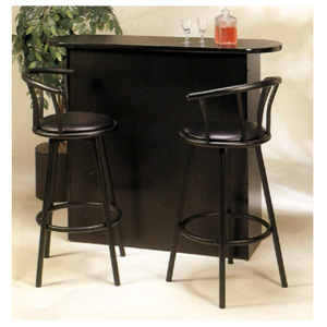3-Pc Satin Black Bar Unit With Swivel Stools 6529-98 (CO)