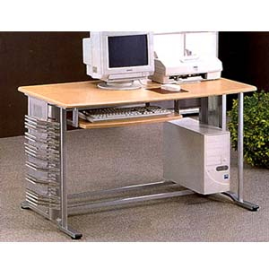 Brushed Aluminum Finish Computer Desk W/ Wood Top 7009 (CO)