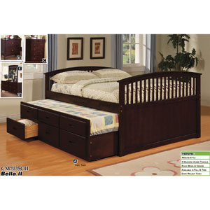 bella ii captain trundle bed with drawers cm7035ch iem