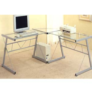 Silver Finish Metal Computer Workstation 7172 (CO)