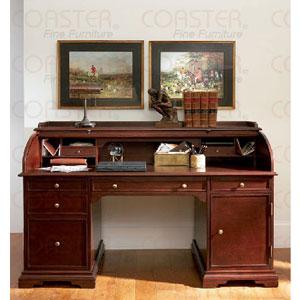 Roll Top Secretary Desks Solid Wood Cherry Finish Roll