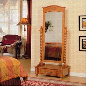 Floor Mirrors: Oak Cheval Mirror with Drawer 900508 CO @ elitedecore.com