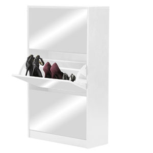 Wood Shoe Storage Cabinet with Mirror GLS17016_(OFS)