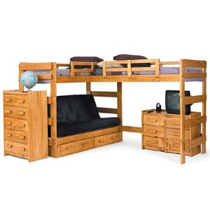 Solid Wood L-Shaped Futon Loft Bed LF-6200(WC)