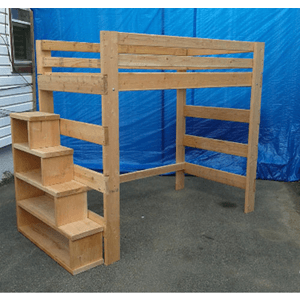 Brute Solid Wood Adult Loft Bed 1000 Lbs Wt. Cap With Stairs