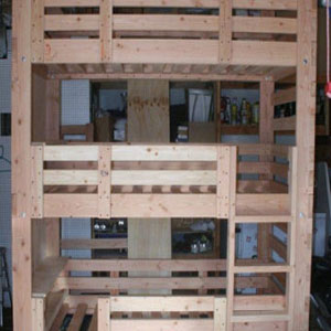 Heavy Duty Solid Wood Custom Made Triple Bunk Bed (USM)